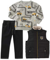 Kids Headquarters 3-Pc. Vest, Printed Sweatshirt and Jeans Set, Baby Boys (0-24 months)