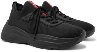 Prada America's Cup Rubber-Trimmed Mesh Sneakers