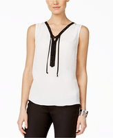 INC International Concepts Sleeveless Contrast Lace-Up Blouse, Only at Macy's