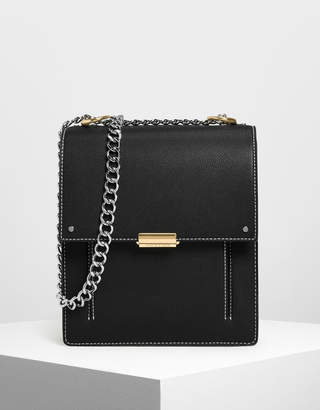 Charles & Keith Chain Strap Portrait Messenger Bag