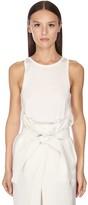 Salvatore Ferragamo Silk & Cotton Knit Tank Top W/ Logo