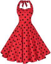 BI.TENCON Women's Retro 1950s Style Red Polka Dot Halter Fit and Flare Cotton Dress 2XL