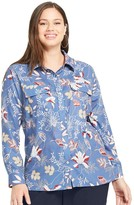 Plus Size East Adeline by Dia&Co Printed Button-Down Blouse