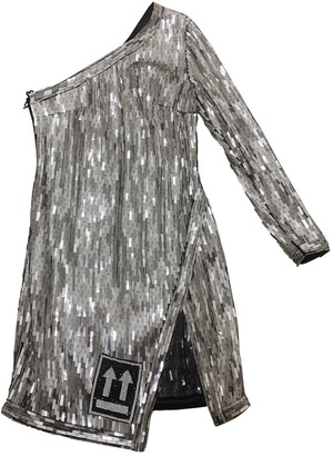 Off-White Silver Polyester Dresses