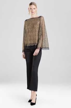 Natori Gold Embroidered Mesh Blouse With Cami