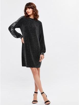 M&Co Glitter stripe sleeve swing dress
