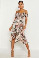boohoo Woven Mixed Animal Print Ruffle Maxi Dress