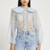 Thumbnail for your product : River Island Womens Blue floral print collared organza shirt