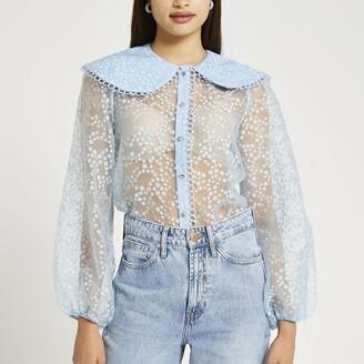 River Island Womens Blue floral print collared organza shirt