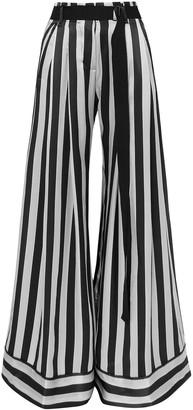 Ann Demeulemeester Belted Striped Silk-satin Wide-leg Pants