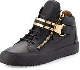 Giuseppe Zanotti Men's Leather Mid-Top Sneaker w/Double-Bar Strap, Black