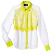 Prabal Gurung For Target® Lace-Front Blouse -White/Sulphur