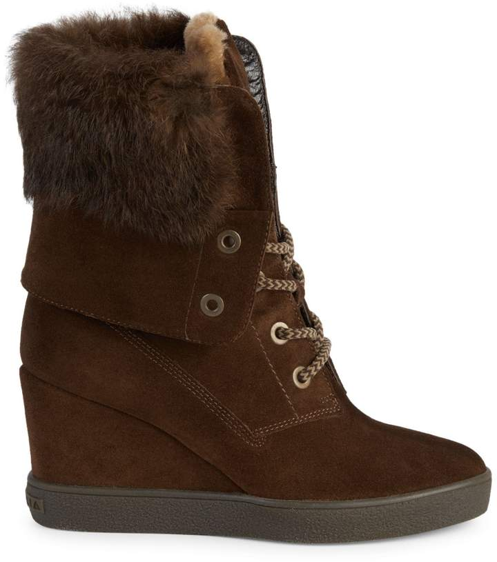 Aquatalia Rabbit Fur Trimmed Shearling Lined Wedge Boots