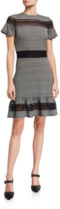 MICHAEL Michael Kors Cheeky Check Flounce-Hem Dress