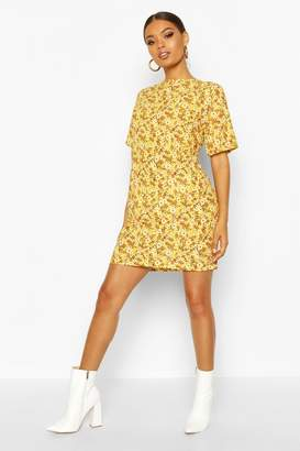 boohoo Short Sleeve Floral Print Shift Dress