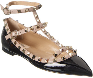 Valentino Rockstud Caged Patent Ankle Strap Ballet Flat
