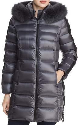 One Madison Fur-Trim Lace-Up Down Coat