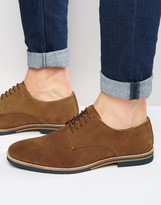 Asos Derby Shoes in Tan Suede With Colored Sole