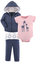 Yoga Sprout Girls' Infant Bodysuits Whimsical - Pink & Blue Whimsical Giraffe Bodysuit Set - Infant