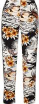 Maje Washed Silk-trimmed Printed Crepe Wide-leg Pants - Black