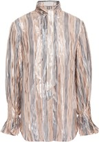 Peter Pilotto Tie-neck Metallic Striped Silk-blend Chiffon Blouse