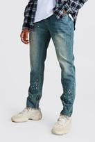boohoo Mens Grey Skinny Rigid Jeans With Paint Splatter, Grey