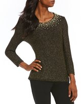 Ruby Rd. Embellished Scoop-Neck Metallic Tape Yarn Pullover Sweater
