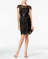 Adrianna Papell Lace Cap-Sleeve Illusion Sheath Dress