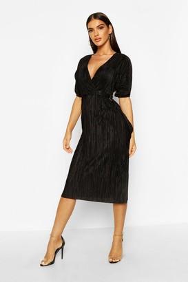 boohoo Plisse Buckle Wrap Midi Dress