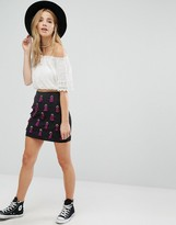 Glamorous All Over Embellished Mini Skirt