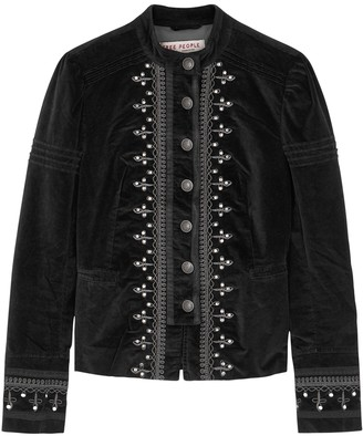 Free People Maven black embroidered stretch-velvet jacket