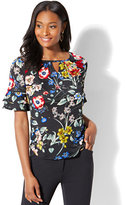 New York & Co. 7th Avenue - Ruffled Short-Sleeve Top - Floral Print