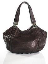 B. Makowsky Merlot Red Leather Top Stitched Medium Silver Detail Shoulder Handbag