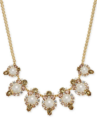 Charter Club Gold-Tone Crystal, Stone & Imitation Pearl Statement Necklace, 17