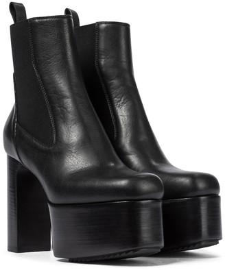 Rick Owens Kiss leather platform ankle boots