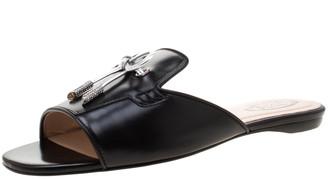 Tod's Limited Edition Black Leather Crystal Embellished Bow Peep Toe Flat Slides Size 37