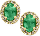 Effy Brasilica by Emerald (7/8 ct. t.w.) and Diamond (1/8 ct. t.w.) Stud Earrings in 14k Gold