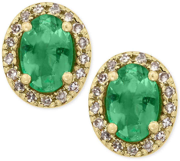 Effy Brasilica by Emerald (7/8 ct. t.w.) and Diamond (1/8 ct. t.w.) Stud Earrings in 14k Gold