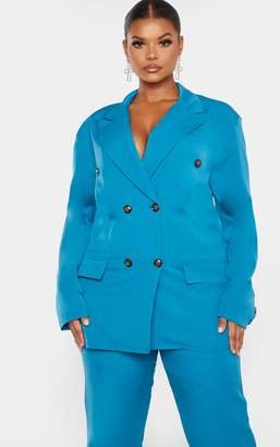 PrettyLittleThing Plus Teal Woven Oversized Longline Button Detail Blazer