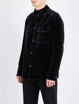 Brioni Velvet cotton and silk-blend military jacket