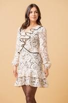 Liena LIENA Nude Floral Lace Frill Long Sleeve Mini Dress