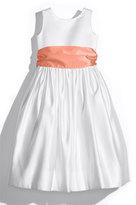 Us Angels Girl's White Tank Dress With Satin Sash