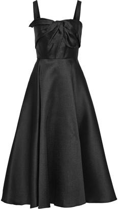 Marchesa Twist-front Satin-pique Midi Dress