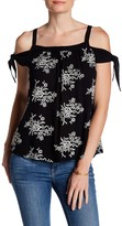 Bobeau Embroidered Woven Cold Shoulder Blouse