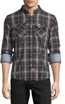 Superdry Grindleshawn Plaid Cotton Shirt, Storm Black Check