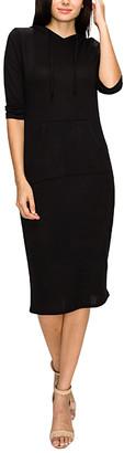 Made by Johnny Women's Casual Dresses BLACK - Black Pocket Hooded Shift Dress - Women & Juniors
