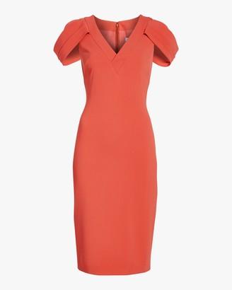 Badgley Mischka Cape-Sleeve Dress