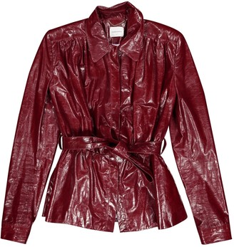 Magda Butrym Burgundy Leather Jackets