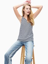 Splendid Boardwalk Stripe One Shoulder Tie Tank