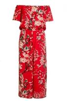 Quiz Red Bardot Floral Print Culotte Jumpsuit